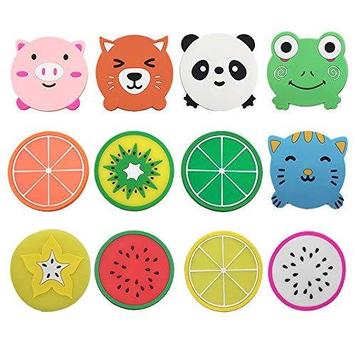 Sottobicchieri in silicone per bevande, 5 animali + 7 immagini di frutta, set di tovagliette e sottobicchieri per mobili (12...