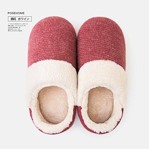 Fankou Home borsa con pantofole autunno maschio indoor giovane home non - slip caldo cotone pantofole inverno femmina Hellgrau