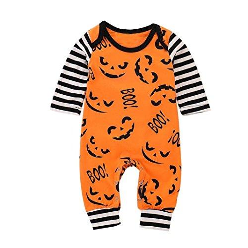 URSING Halloween Kostüme Kleinkind Baby Boy Mädchen Brief Drucken Cartoon Strampler Overall Schlafanzug Schlafstrampler Kleidung Festliche Kindermode Babykleidung Jogginganzug (Orange,80)