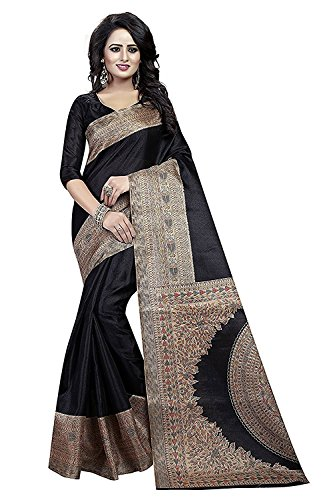 Clothsfab Women's khadi Silk saree with blouse piece (01 k_Black)