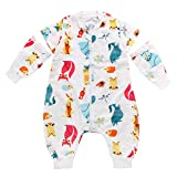 Happy cherry - Saco de Dormir de Bebés Niños con Pie Manga Larga Desmontable Estampado Cartoon Pijama Transpirable para Bebés para Verano Primavera - Animal -18-24 Meses