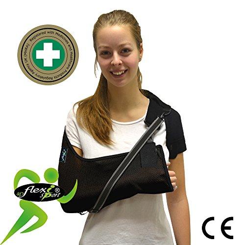 4DflexiSPORT - Cabestrillo brazo y hombro ajustable Dispositivo médico de clase 1 (MHRA). Unisex (Negro, M)