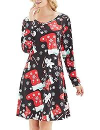 LYXIOF Femmes Sapin Print Dress Swing NoëL De Mesdames Manches Longues éVaséEs Robes De FêTe