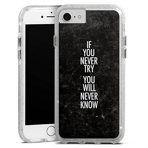 Apple iPhone 8 Bumper Hülle Bumper Case Glitzer Hülle Sayings Phrases Sprüche Bumper Case Glitzer silber