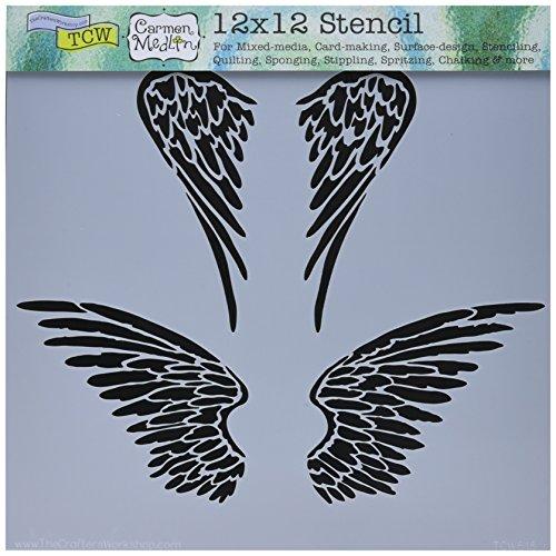Crafter 's Workshop Vorlage 12Zoll x 12Zoll Engel Flügel -