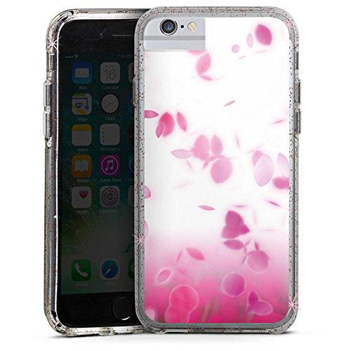 Apple iPhone 7 Bumper Hülle Bumper Case Glitzer Hülle Pink Rosenblaetter Blaetter Bumper Case Glitzer rose gold