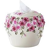BBIAY Tissue Box, Rollenpapier, Pansy-Stil, Kunsthandwerk, Geschnitzte Blumen, Kreatives Zuhause, Wohnzimmer, Schlafzimmer, Ornament, 15 * 18cm , white