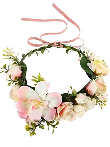 Handgemachte Boho Blume Stirnband Einstellbare Braut Blume Garland Blume Krone Haar Kranz Blume Garland Krone Kopfstück (Pink) (Haar-accessoires Seidenblumen)