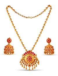 Variation Traditional Jewellery Pendant Set With Jhumki Earrings For Women-VD18146