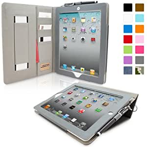 Snugg Leather Flip Stand Cover with Protective Premium Nubuck Fibre Interior for the Apple iPad iPad 2 Card Slot 'Executive' Grey - grey