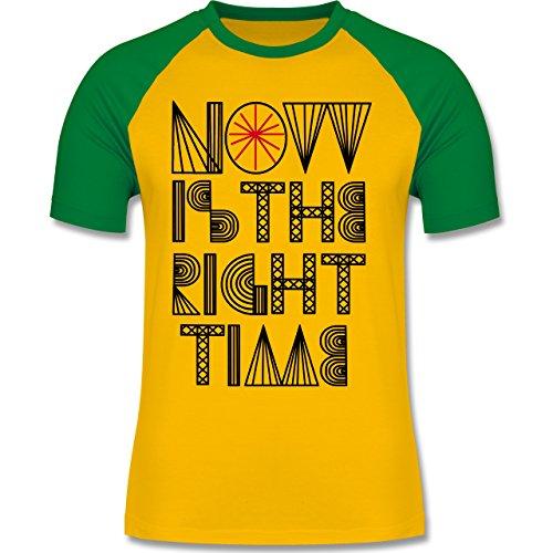 Statement Shirts - Now is the right time - zweifarbiges Baseballshirt für Männer Gelb/Grün