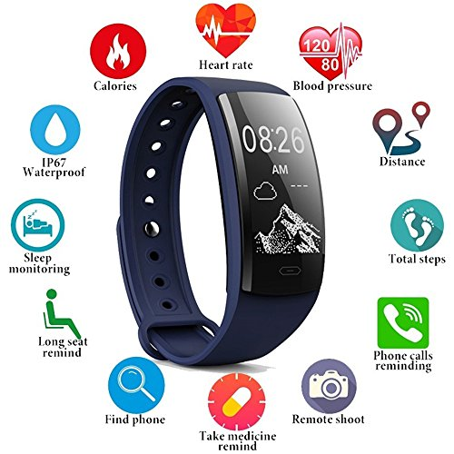 konnison-1 - smart watch wireless bluetooth, per misurare la pressione sanguigna, cardiofrequenzimetro, ossigeno nel sangue, blue