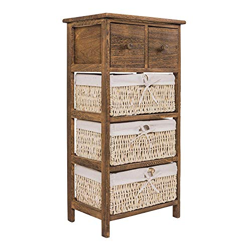Rebecca Mobili Armario rústico, mueble baño con 2 cajones, 3 cestas, madera mimbre, marrón, estilo country, entrada baño- Medidas: 84,5 x 42 x 29 cm ( AxANxF) - Art. RE4059