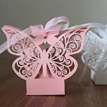lavinaya 50pcs farfalla matrimonio, Baby Shower (Candy Box regalo feste perlato Rosa