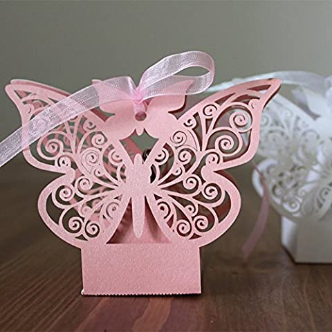 PONATIA 50pcs Butterfly Wedding Baby Shower Cutout Candy Box Party Favors Gift Box Pearlescent (Pink)