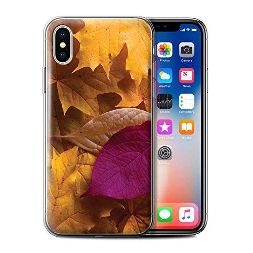 Stuff4 Gel TPU Hülle / Case für Apple iPhone X/10 / Gemischt/Violett Muster / Herbstblätter Kollektion Gemischt/Violett
