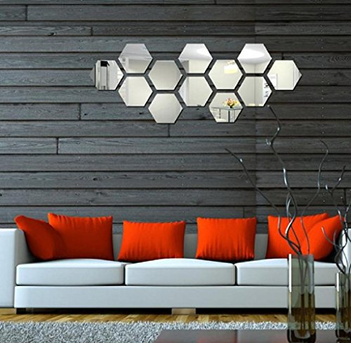 12Pcs 3D Specchio Hexagon Vinyl Wall Sticker rimovibile