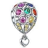 Heißluftballon Charm für Pandora Armband, 925 Sterling Silber Charm Bead mit Haut-Bunt Kubikzircon Stein, Perfekt für Europäische Armband Und Anhänger Halskette FQ0006