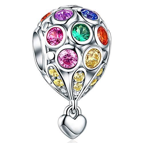 Forever queen ciondolo di mongolfiera per donna, perline in argento sterling 925 con pietra zircone cubico colorato bead charms, perfetto per bracciali e collane europei fq0006