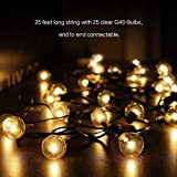 Outdoor String Lights, G40 Outdoor String Light Bulbs Listed,StarryFairy Lights For Indoor & Outdoor Décor, Wedding Light, Backyard Light,Christmas Decoration Lights, waterproof,25ft(7.62M).By Home Impression (UK-Stardard)Perfect for Patio, Cafe, Garden, Festoon Party Decoration(25 Bulbs + 3 Spare Bulbs + 3 Fuse)