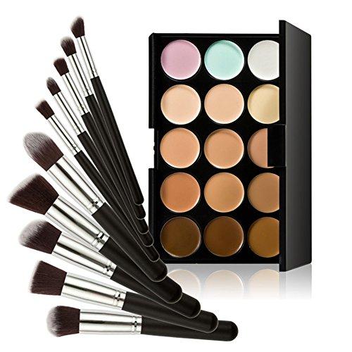 Chinatera 15 Farben Kontur Gesicht Creme Make-up Concealer Palette +10ST Pinsel (Schwarz+Silber)
