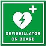 """100x 100mm Aufkleber mit Aufschrift """"Defibrillator On Board"""" für Rettungswagen, Minibus, Taxi, Bus"""