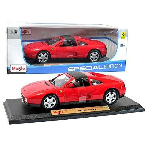 Maisto Year 2015 Special Edition Series 1:18 Scale Die Cast Car Set - Red Color Sports Car FERRARI 348ts with Display Base (Car Dimension: 9 x 4 x 3) by Maisto (18 Scale-2015 1 Diecast)