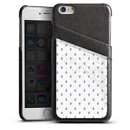 Apple iPhone 5s Housse Étui Protection Coque Ancre Motif Motif Étui en cuir gris