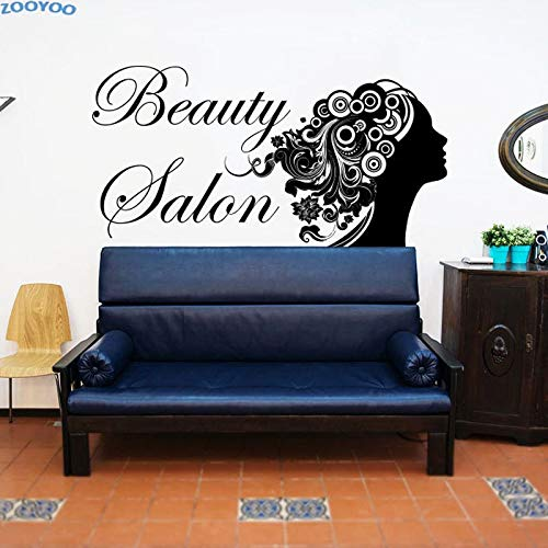 Ajcwhml Peluquería Peinado Pared de Cristal Puerta Ventana Vinilo Pegatina Salón de Belleza Cara de Mujer con Labio Rojo Tatuajes de Pared Murales de Bricolaje 57 x 70 cm