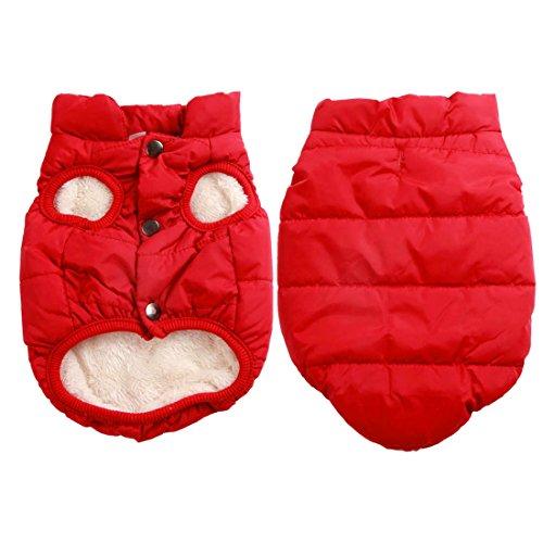 Mit Fleece gefütterte Hundejacke mit 2 Schichten von JoyDaog, sehr warm für den Winter und kaltes Wetter, extraweiche, winddichte Hundeweste(XXX-Large, rot) Xxx Large Kostüm