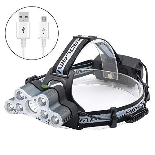 jirvyuk USB aufladbare LED Kopf Taschenlampe, 6000Lumen Einstellbare LED Scheinwerfer Scheinwerfer mit 6Modi, Taschenlampe mit wasserdicht für Camping, Radfahren, Wandern, Jagd, Wandern, 3.70 voltsV