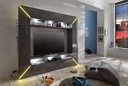 trendteam SC95121 Wohnwand TV Möbel grau Hochglanz, BxHxT 201x180x35 cm - 3