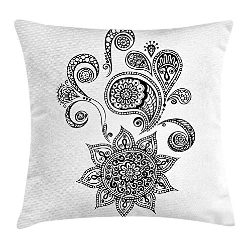 Easshorts Henna Throw Pillow Cushion Cover, Flowers and Paisley Doodle Tattoo Pattern Islam Culture Inspiration Monochrome Image, Decorative Square Accent Pillow Case, 18 X 18 Inches, Black White