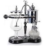Cafetière électrique royale belge Machine à siphon avec verre réfractaire en borosilicate Facile à nettoyer - Colonne unique en argent