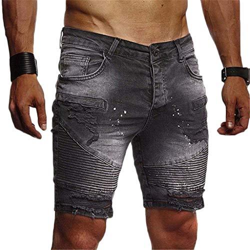 Mymyguoe Herren Jeans Shorts Denim Hose Mit Destroyed-Optik Aus Stretch-Material Regular Fit Herren Stretch Jeans Shorts Kurze Hose Sommer Sweathose Herren Jeans Sweat Kurze Hose [Schwarz,S] -