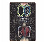 KUSTOM FACTORY Plaque Metal Skull Mexicain
