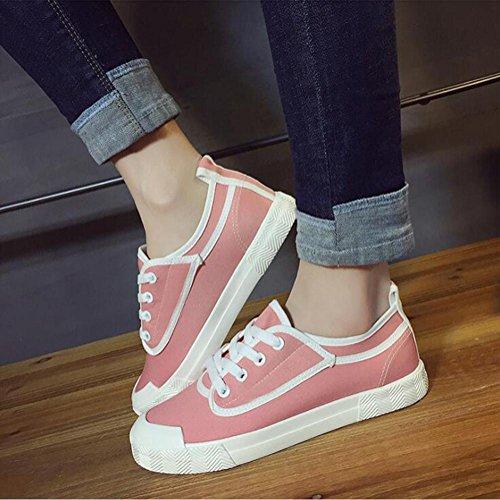 Scarpe Casual Canvas Lace Up Scarpe Giovane Donna Primavera e Estate Scarpe di moda Vintage Pink