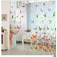 gootrades cortina suave de maravilloso patrn mariposa pantalla de gasa tul transparente usar para decorar balcn - Cortinas Separadoras De Ambientes
