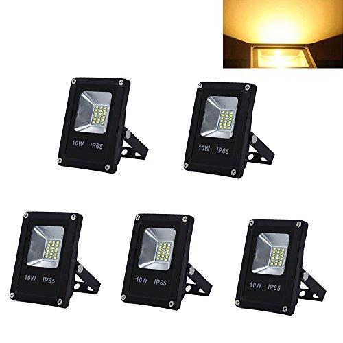 HG® 5 Stück 10W LED Floodlight SMD Scheinwerfer Aluminium Warmweiß IP65 Beleuchtung Baustrahler Industrie Fluter Leuchtmittel [Energieklasse A++]