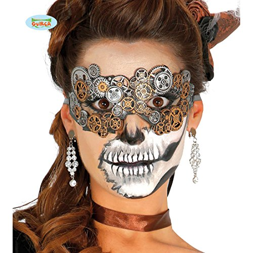 Amakando Halbmaske Dieselpunk Viktorianische Karnevalsmaske Cyberpunk Maske Faschingsmaske Mechanik Clockworker Gesichtsmaske Steampunk Augenmaske