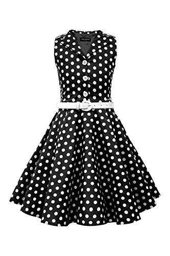BlackButterfly Kinder 'Holly' Vintage Polka-Dots Kleid im 50er-J-Stil (Schwarz, 9-10 J / 134-140) (10 Mädchen Kleider)