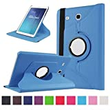 Samsung Tab E Case,Flying Horse Lichee Pattern 360 Degrees Rotating Stand PU Leather Case for Samsung Galaxy Tab E 9.6 T560 T561 Auto Sleep/Wake Tablet with Screen Protector and Stylus (Sky Blue)