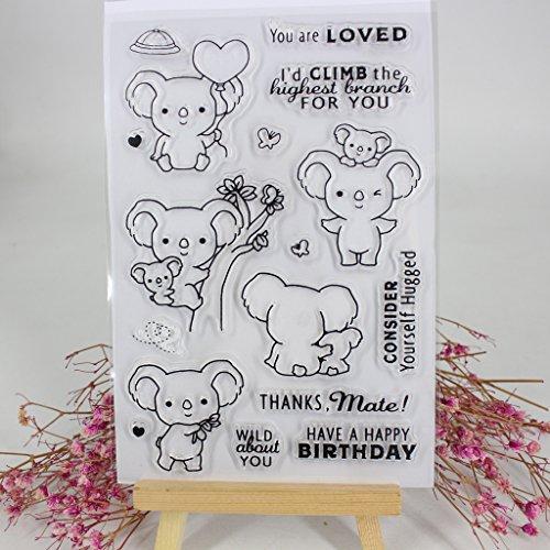 ECMQS Koala DIY Transparente Briefmarke, Silikon Stempel Set, Clear Stamps, Schneiden Schablonen, Bastelei Scrapbooking-Werkzeug