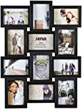 Arpan Multi Apperture Picture/Photo frame, Holds 12 x 6''X4'' Photos - Ideal Gift. Available in Black / White / Pink (BLACK)