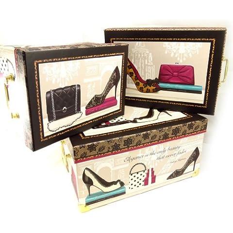 Set di 3 keepsake boxes 'Belle Epoque'marrone beige.
