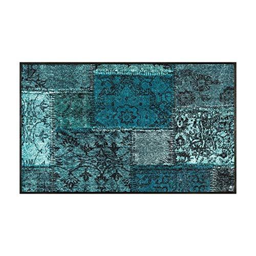 wash+dry Vintage Patches türkis Fußmatte, Acryl, grün, 75 x 120 x 0.7 cm -