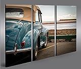 Bild Bilder auf Leinwand Cabrio am Meer Retro Style Oldtimer 3p XXL Poster Leinwandbild Wandbild Dekoartikel Wohnzimmer Marke islandburner