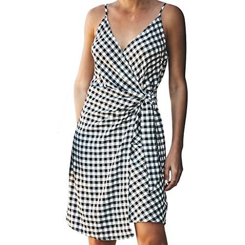 BHYDRY Sexy Damen Plaid Party Mode Kleid Damen Urlaub lässig Sommerkleid(Medium,)