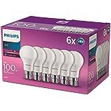 Philips LED 13W (100W) bombillas B22, casquillo de bayoneta, Blanco cálido, Escarchado–Pack de 6,, B22, 13W, 6unidades)