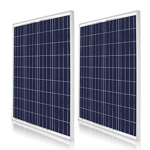 DOKIO Polykristallines Solarmodul 2*100W (200watt) 12V mit Laderegler ( 2x USB-Port) für Wohnmobil, Camping, Gartenhaus